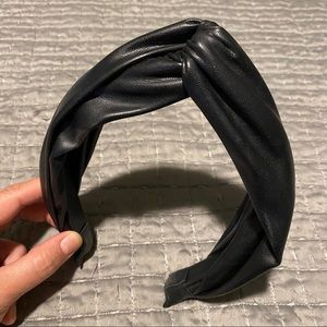 Anthropologie Faux Leather Knotted Headband